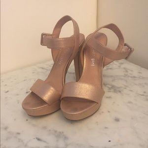 Steve Madden rose gold platform heels